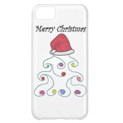 Santa Hat Christmas Tree iPhone 5C Cases