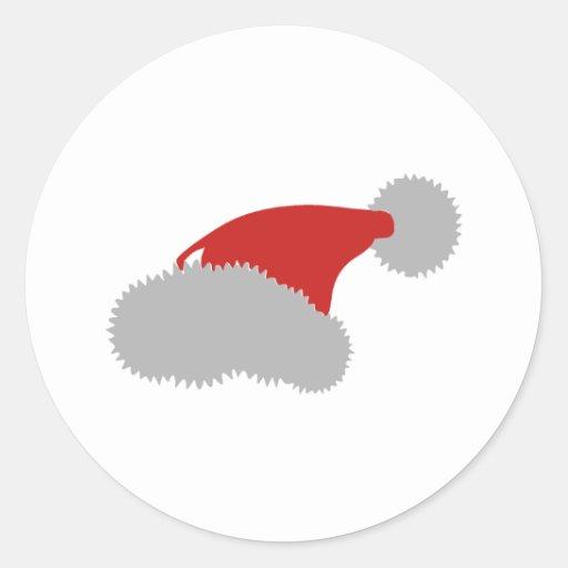 Santa hat classic round sticker zazzle