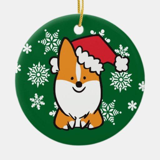 Tri Color Corgi Christmas Ornaments
