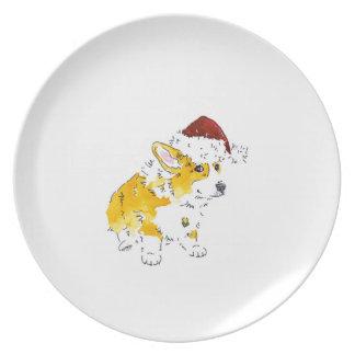 Santa Hat Corgi Plate