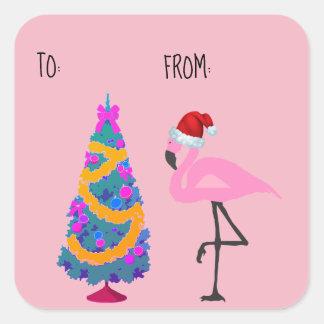Santa Hat Flamingo Christmas Gift Tag