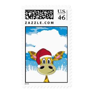 Santa Hat Giraffe Stamp stamp