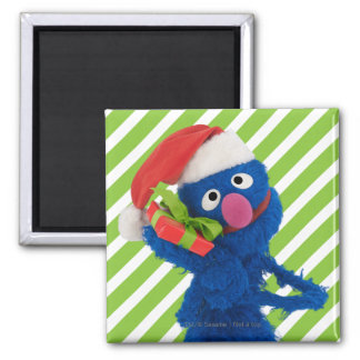 Santa Hat Grover 2 Inch Square Magnet