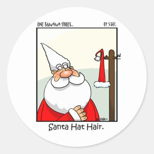 Santa Hat Hair Classic Round Sticker