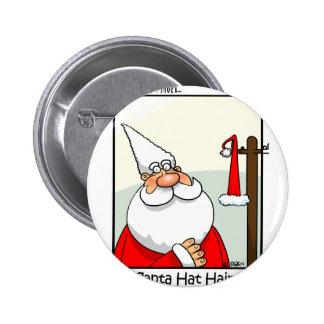 Santa Hat Hair Pinback Button