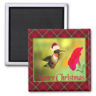 Santa Hat Hummingbird Christmas Refrigerator Magnet