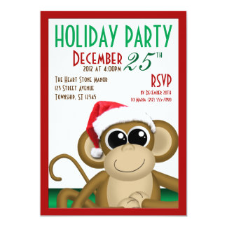"""Santa Hat Monkey 5""""x7"""" Holiday Party Invitations"""