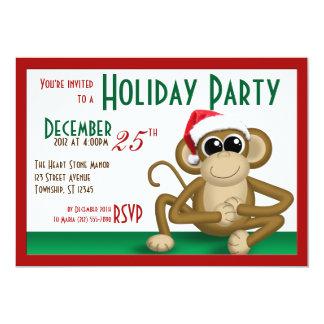"""Santa Hat Monkey 7""""x5"""" Holiday Party Invitations"""