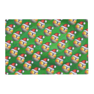 Santa Hat Nine Ball Pattern on Green Placemat