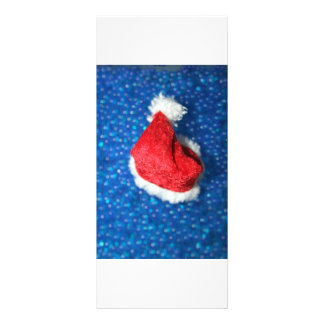 Santa hat on a bed of blue bubble beads custom rack cards