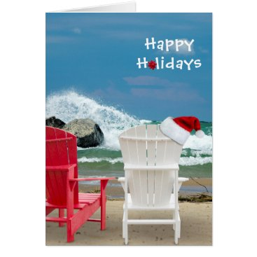 Beach Themed Santa hat on beach chair card