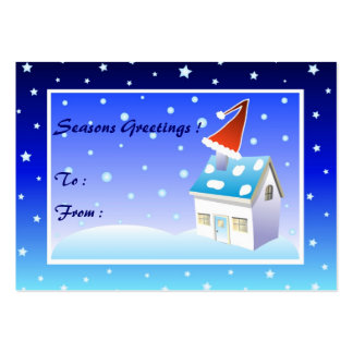 Santa hat on chimney - Gift tag card Large Business Cards (Pack Of 100)