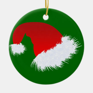 Santa Hat Double-Sided Ceramic Round Christmas Ornament