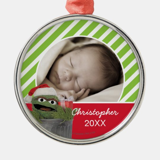 Santa Hat Oscar The Grouch Add Your Name Metal Ornament