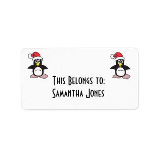 santa hat penguin label
