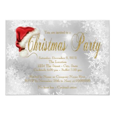 Santa Hat Red and Gold Snowflake Christmas Party Card