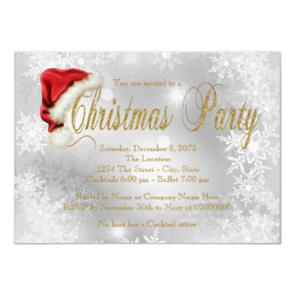 Santa Hat Red and Gold Snowflake Christmas Party Announcement