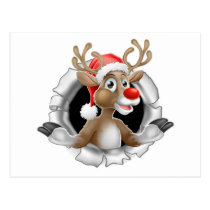 Santa Hat Reindeer Tearing Through Background Postcard