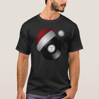 Santa Hat Retro Record Mens Black T-Shirt