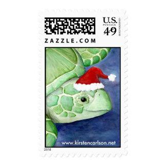 Santa Hat Sea Turtle Postage