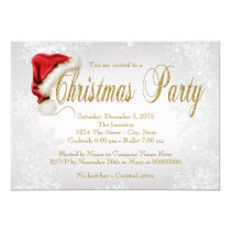 Santa Hat Silver Snowflake Christmas Party Invitation