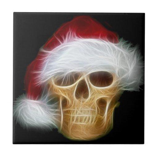 Santa hat skull tile