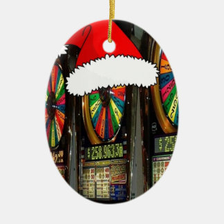 Santa Hat Slot Machines Double-Sided Oval Ceramic Christmas Ornament