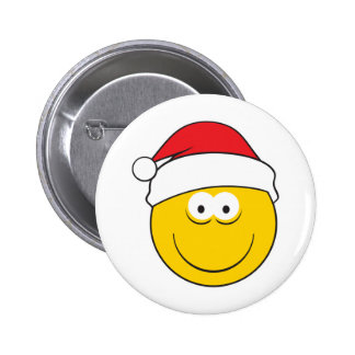 Santa Hat Smiley Face Pinback Button