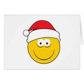Santa Hat Smiley Face Greeting Cards