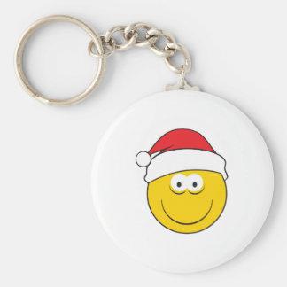 Santa Hat Smiley Face Keychain