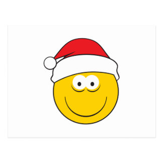 Santa Hat Smiley Face Postcard