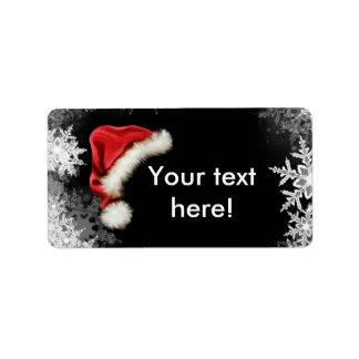 Santa Hat Snowflake Christmas Holiday Address Label