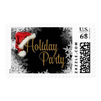 Santa Hat Snowflake Christmas Holiday Postage Stamp