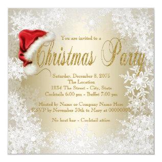 Santa Hat Snowflake Christmas Party Card at Zazzle