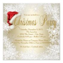 Santa Hat Snowflake Christmas Party Card