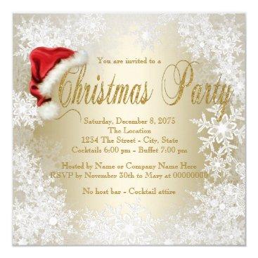 Christmas Themed Santa Hat Snowflake Christmas Party Card