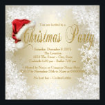 "Santa Hat Snowflake Christmas Party Invitation<br><div class=""desc"">Fun red Santa hat white and gold snowflake Christmas party invitation. This elegant gold snowflake Christmas party invitation is easily customized for your event by simply adding your details in the font style and color of your choice.</div>"