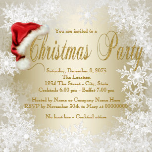 Christmas invitations zazzle santa hat snowflake christmas party invitation stopboris Image collections