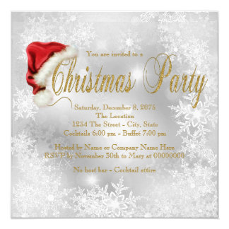 Santa Hat Snowflake Christmas Party 5.25x5.25 Square Paper Invitation Card