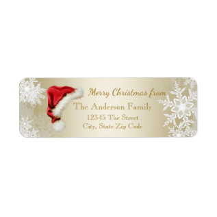 Santa Hat Snowflake Christmas Return Address Label at Zazzle