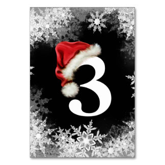 Santa Hat Snowflake Christmas Table Cards