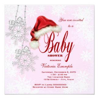 Santa Hat Snowflakes Girls Christmas Baby Shower Card