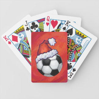 Santa Hat Soccer Ball on Red Bicycle Playing Cards