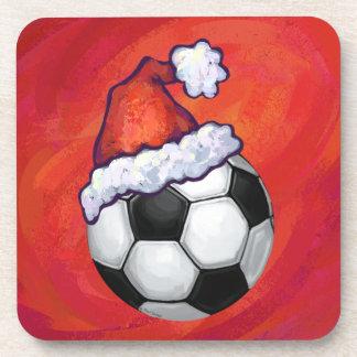 Santa Hat Soccer Ball on Red Drink Coaster