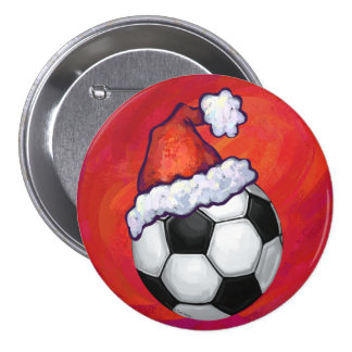 Santa Hat Soccer Ball on Red Pinback Button