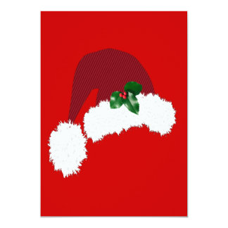 Santa Hat with Holly Invitation