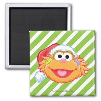 Santa Hat Zoe 2 Inch Square Magnet