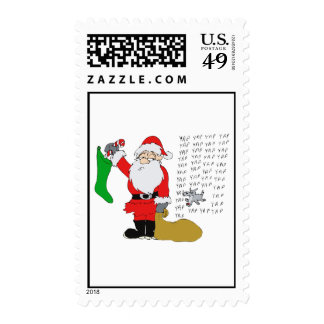 santa hates yapping dog postage stamps