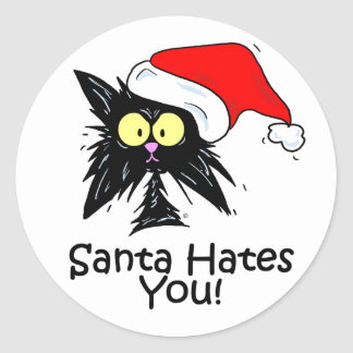 Santa Hates You Classic Round Sticker