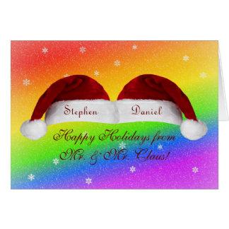 Santa Hats and Rainbows Greeting Card